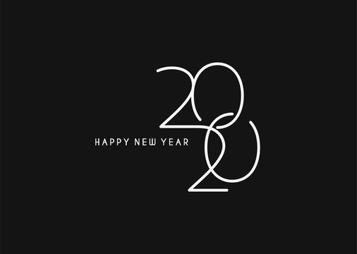 Happy New Year 2020 Text Typography Design Patter, Vector illustration.