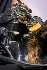 Girl in beauty salon while an hair stylist dyeing her hair
