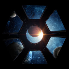 Wall Mural - Earth and galaxy in spaceship international space station window porthole. Elements of this image furnished by NASA.