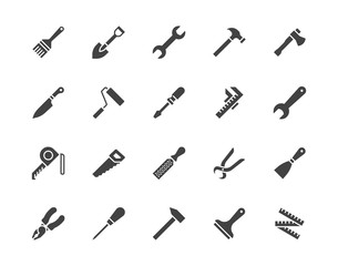 Construction tools flat glyph icons set. Hammer, screwdriver, saw, spanner, paintbrush vector illustrations. Black signs for carpenter, builder equipment store ilhouette pictogram pixel perfect 64x64