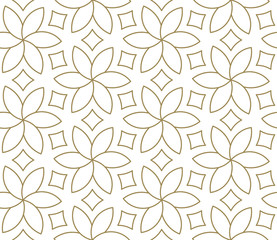 Seamless floral pattern with abstract geometric line texture, gold on white background. Light modern simple wallpaper, bright tile backdrop, monochrome graphic element