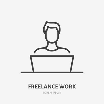 Man with laptop flat line icon. Vector thin sign of freelance work at home, designer logo. Young person in workplace outline illustration