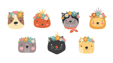 Cat heads with flower crown. Cute cats in floral wreath and princess crown. Funny kitties for birthday greeting card. Girly vector set. Illustration cat head character, animal pretty