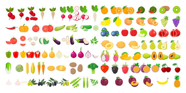 Vector fruits and vegetables icon set isolated on white background. Vector illustration.