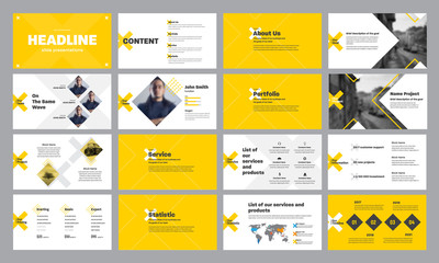 Template of yellow and white presentation slides with rhombus and crosses, for annual report and startups.