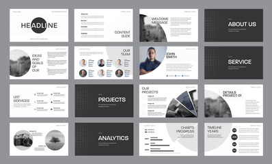 Set of black and white slide templates with circles and photos, for annual report and presentation of web slides for marketing.