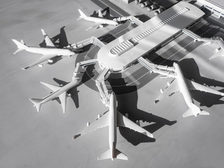 Airport terminal with aircraft on runway Transportation Model scale public building