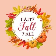 Happy fall y'all card.