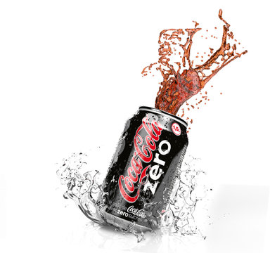 Illustration of Coca-Cola Zero can with splash isolated on white background