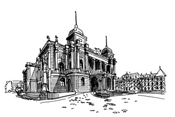 Vector sketch of Croatian National Theater in Zagreb, Croatia.