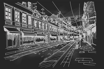 Wall Mural - Hand drawn ink line sketch of european street