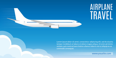 Flight banner. Airplane in the Sky. Trip or Travel by plane concept, poster for web design or business brochure. Vector illustration.