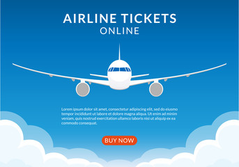 Flight banner with plane. Airplane in the Sky. Airline tickets online concept for web design or business brochure. Vector illustration.