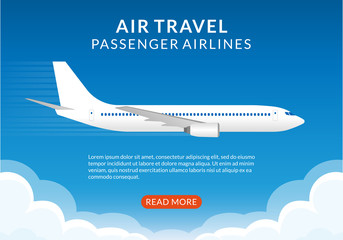 Flight banner with plane. Airplane in the Sky. Air Travel by passenger airlines concept, poster for web design or business brochure. Vector illustration.