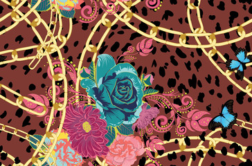 Cheetah skin with roses