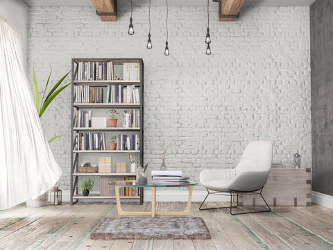 Reading room, old wall, wooden floor, books