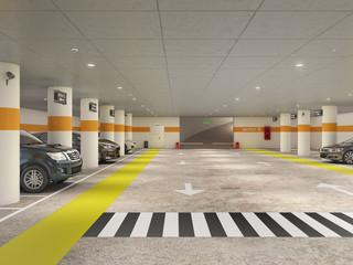Wall Mural - Underground parking with sidewalk and crosswalk, 3d illustration