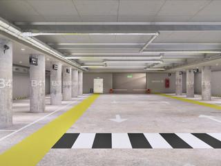 Wall Mural - Empty illuminated underground parking, 3d illustration