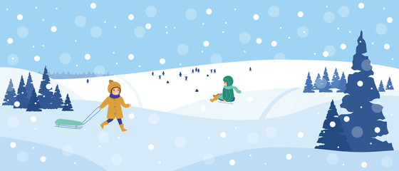 Beautiful snowy landscape. Winter scene with playing children. Winter fun, sledding, walk. Vector illustration