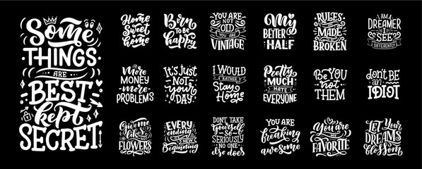 Fototapeta Set with fun slogans for concept design. Hand drawn illustrations. Modern calligraphy quotes. Typography tee print design. Cute lettering for kids fashion. obraz
