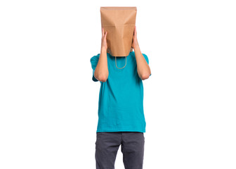 Fototapete - Portrait of teen boy with paper bag over head, covering ears with hands, isolated on white background. Child closing ears with palms. Hear no evil concept.