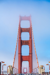Iconic view of Golden Gate Bridge in San Francisco.
