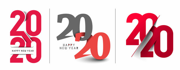 Happy New Year 2020 Text Typography Design Set - Vector illustration.