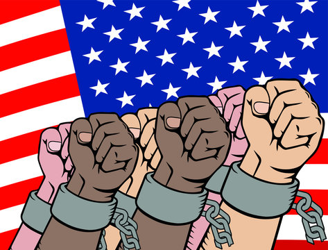 Revolution. USA. freedom from slavery. hands in chains. broken chains