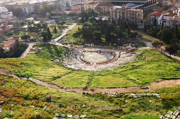 Theatre of Dionysus - view from Acropolis Hill of Athens, Greece