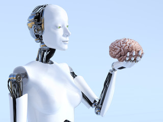 3D rendering of female robot artificial intelligence concept.