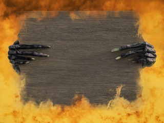3D rendering of monster hands holding blank wooden sign.