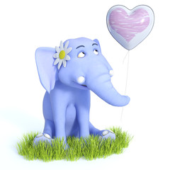 3D rendering of cute blue toon baby elephant sitting and smiling.