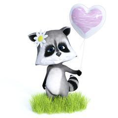 3D rendering of cute toon raccoon holding balloon.