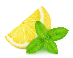 Fresh composition with lemon and mint isolated on a white background in full depth of field with clipping path.