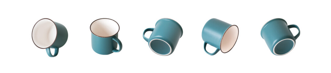 Empty ceramic (looks like enameled) gray-turquoise and ivory mug from different angles, a set of types. Isolated object on a white background.