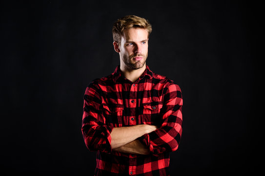 pure confidence. western cowboy portrait. retro male fashion. Vintage style man. man checkered shirt. western. man black background. handsome man with beard. after barbershop. charisma