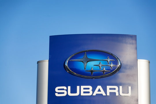 Gdansk, Poland - July 25, 2016: Logo of a japanese car manufacturer Subaru, a division of Fuji Heavy Industries, against a blue sky.