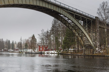 View of the The Tahtiniemi Bridge, a cable-stayed harpform bridge in Heinola, Finland.