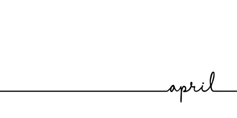 April - continuous one black line with word. Minimalistic drawing of phrase illustration