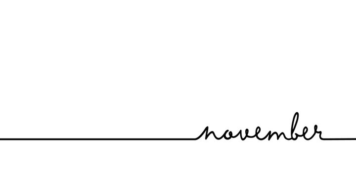 November - continuous one black line with word. Minimalistic drawing of phrase illustration