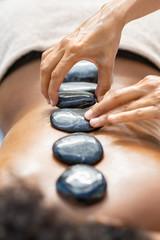 Hot stone massage at spa
