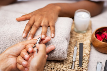 Aluminium Prints Manicure Woman clipping nails at salon