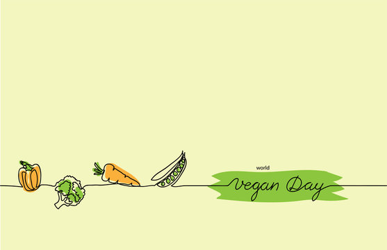 World vegan day border, background. Simple color vegan vector border. Vegetarian one continuous line drawing.
