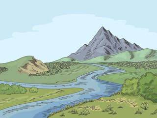 Mountain river graphic color landscape sketch illustration vector