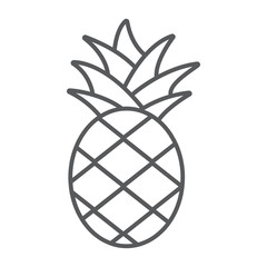 Pineapple thin line icon, fruit and food, tropical fruit sign, vector graphics, a linear pattern on a white background.