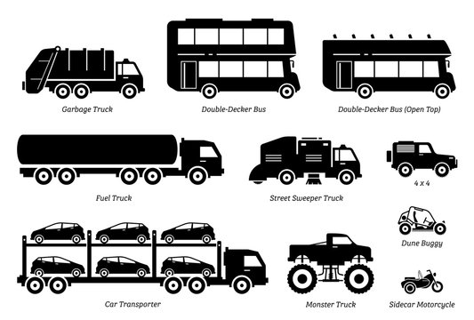 List of special purpose vehicles icon set. Side view artwork of garbage truck, double decker bus, fuel truck, street sweeper, 4wd, car transporter, monster truck, dune buggy, and sidecar motorcycle.