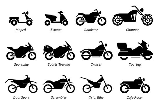 List of different type of motorcycle, bike, and motorbike icon set. Side view of all kind of motorcycle from moped, scooter, roadster, sports, cruiser, touring, scrambler, trial bike, and chopper.