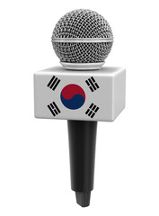 Microphone with South Korean flag. Image with clipping path
