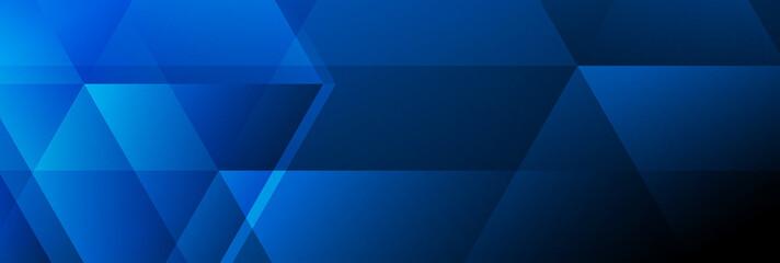 Fotobehang - Dark blue abstract tech polygonal banner design. Geometric modern background. Vector illustration