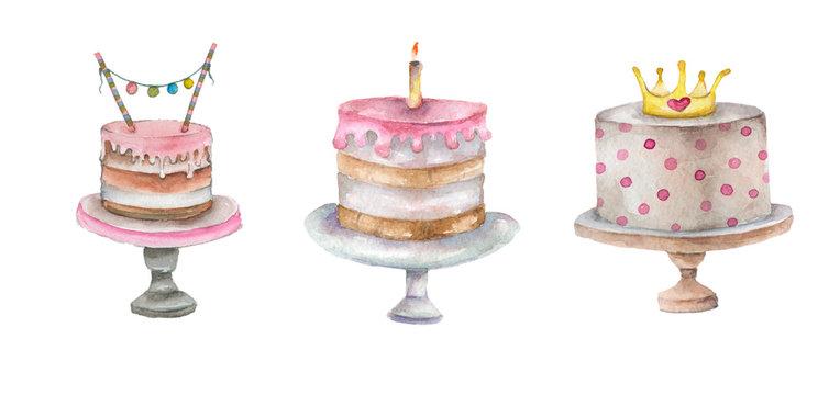 Cake set in watercolor